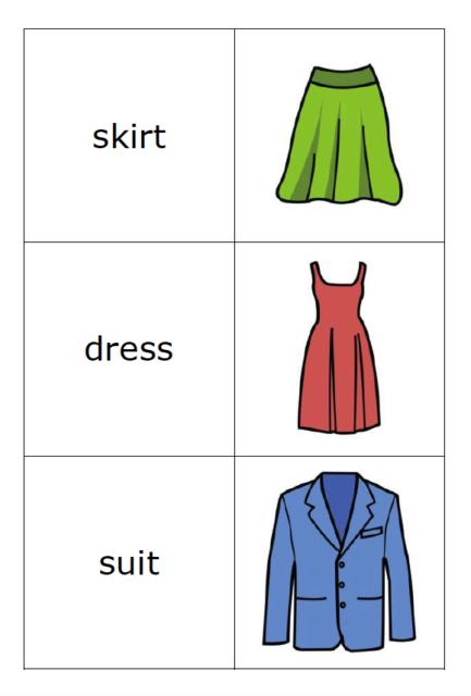 Memory spel årskurs 1-3 engelska om kläder