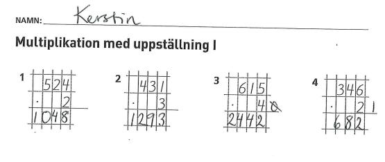 Träna på uppställning i multiplikation