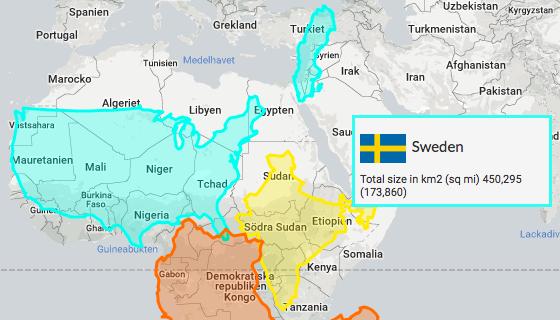 Världens länder - Ländernas riktiga storlek