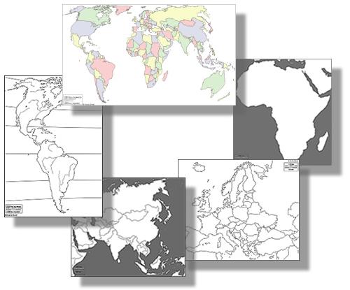 Blindkartor till hela världen - Världens alla kartor