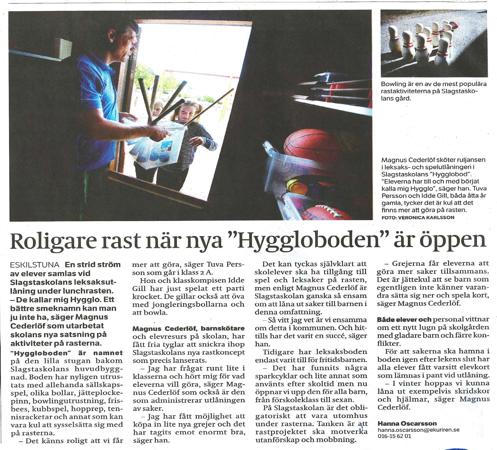 Magnus Cederlöf, Slagsta skola, Eskilstuna