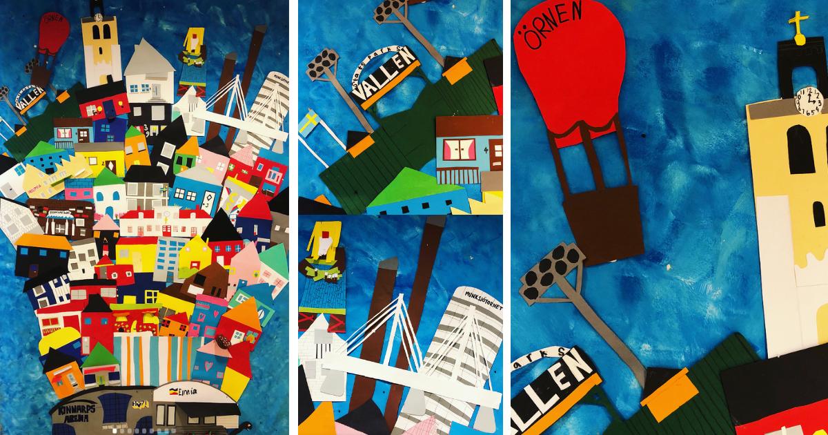 Collage av stadens alla hus och byggnader - En lektionsidé i bild för årskurs 1-3 av Sonja Stankovich