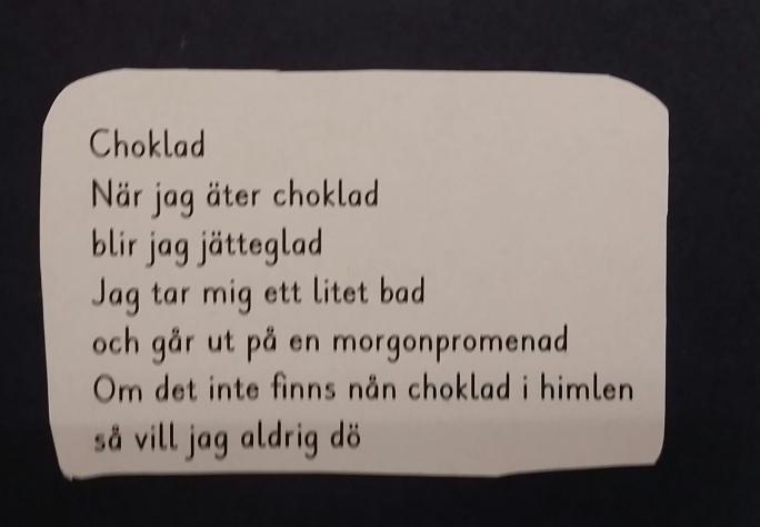 dikt om choklad