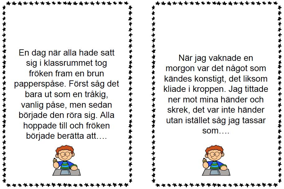 Clara Höglund med skrivuppgifter för årskurs 1-3