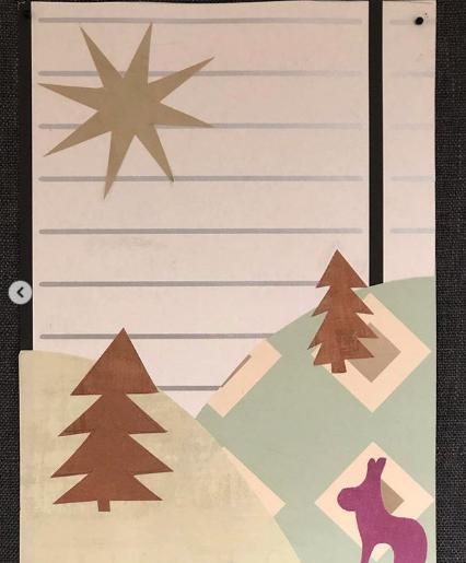 Bilduppgift för lågstadiet - Klippa former i tapet - Skapa ett collage