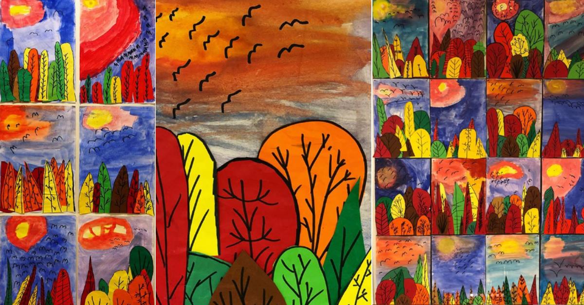 Måla hösten - En bilduppgift med träd och himmel för lågstadiet - årskurs 1-3