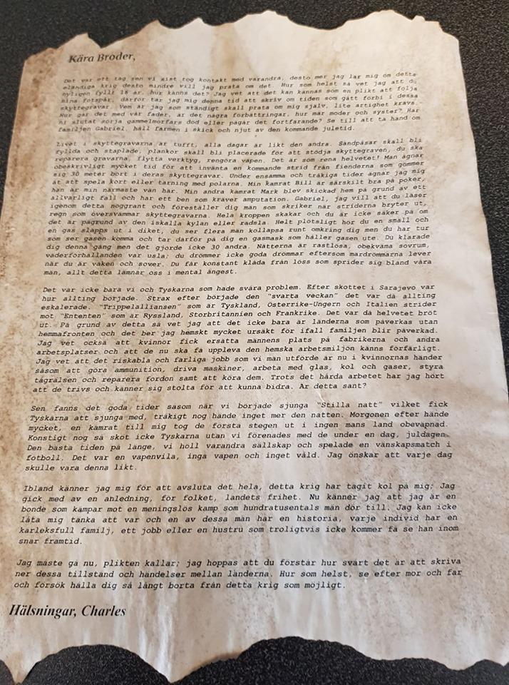En skrivuppgift i historia på högstadiet om första världskriget