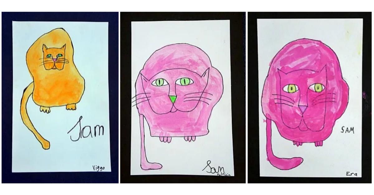 Popart popkonst för lågstadiet rita en katt