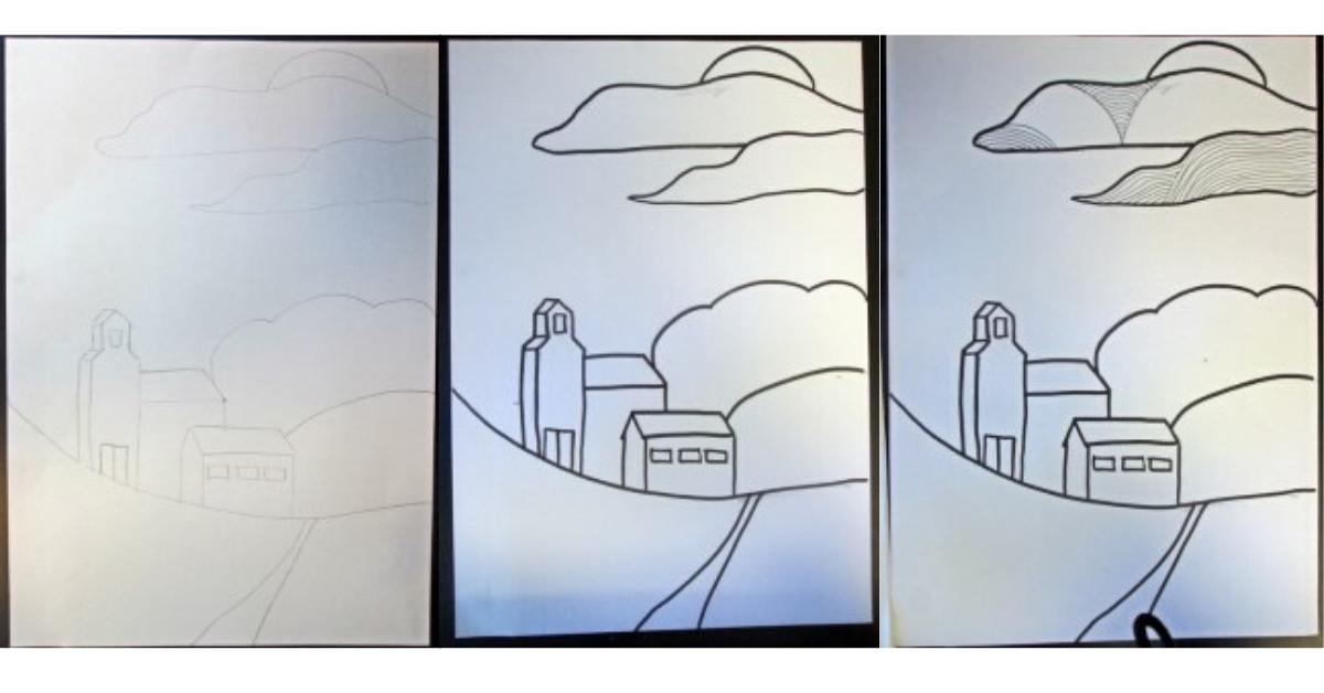 Måla ett landskap med linjer steg för steg