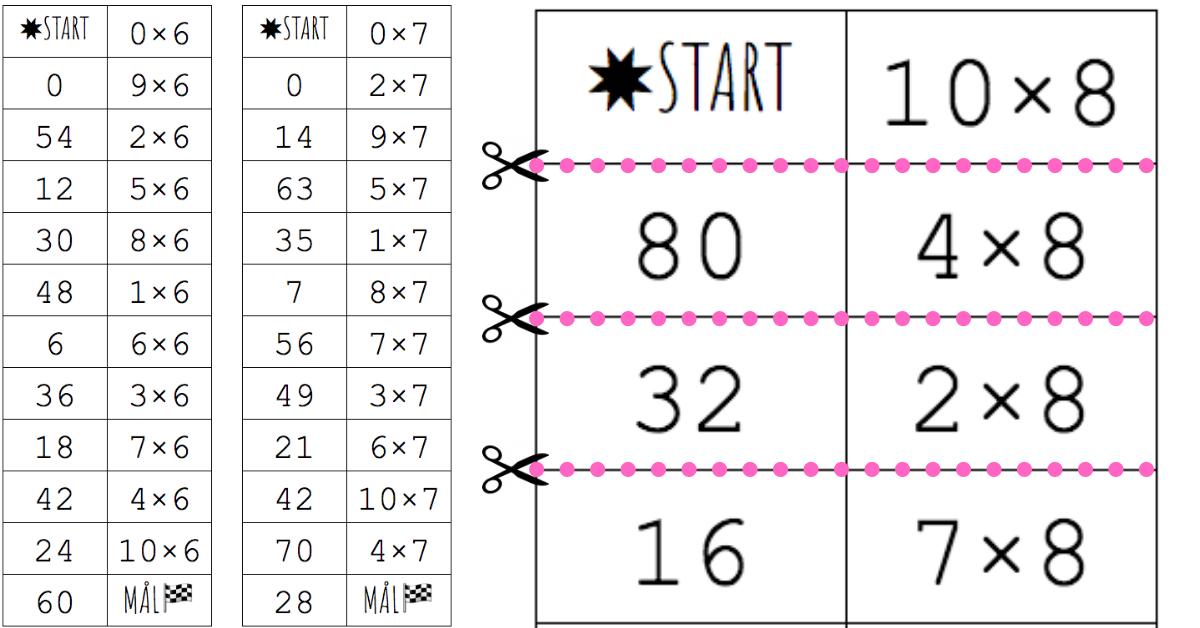 Gångertabellerna 6, 7, 8, 9 tabell. Lägg ut lapparna som domino och rätta själv
