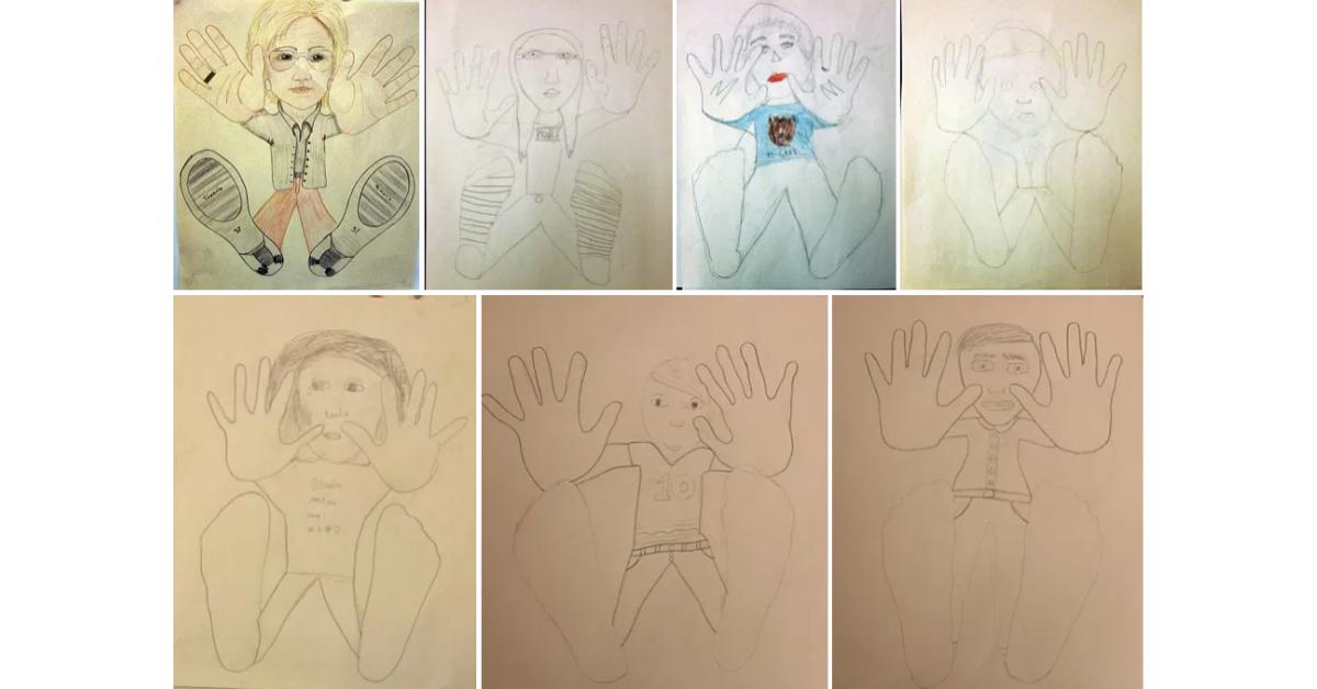 Skisser av ett självporträtt ur grodperspektiv