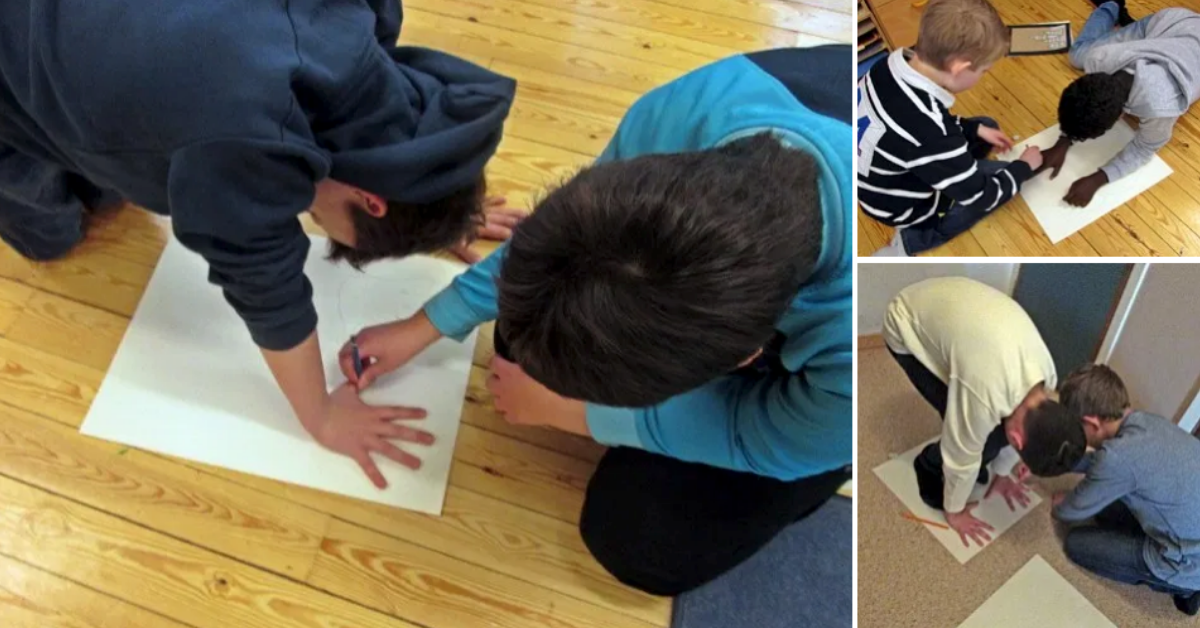 Samarbete - att rita en bild av sig själv ur grodperspektiv