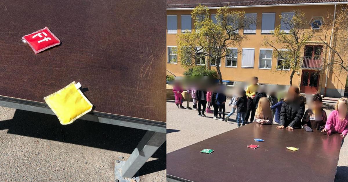 Enkelt shuffleboard i skolan på rasten