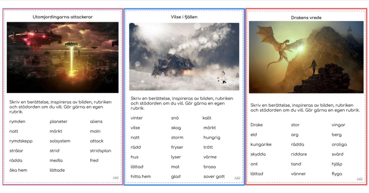 Rubrik, bild och ordsamling skapar förutsättningar för elevernas skrivande