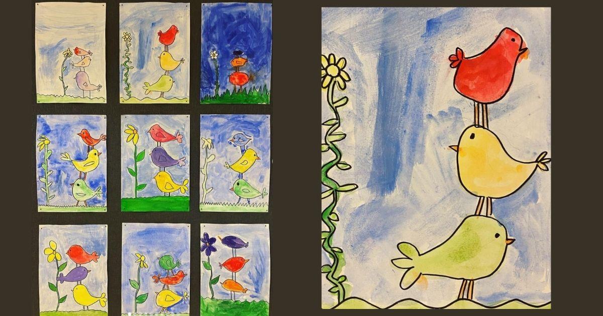 Måla fåglar med akvarell - för lågstadiet