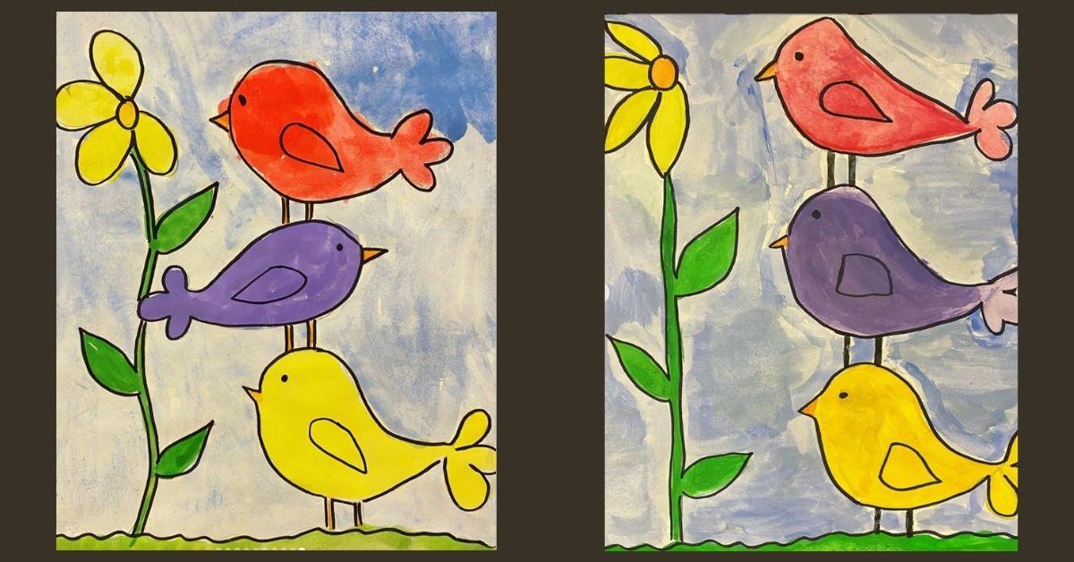 Fåglar - Exempel elevernas bilder för åk 1-3