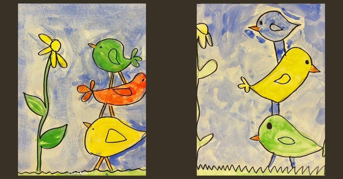 Årskurs 1-3 målar fåglar - våren är här