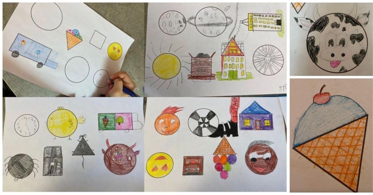 Eleverna ritar bilder med stöd av geometriska former - rektangel, kvadrat, triangel och cirkel