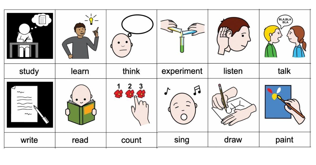 Activities in school - Classroom verbs
