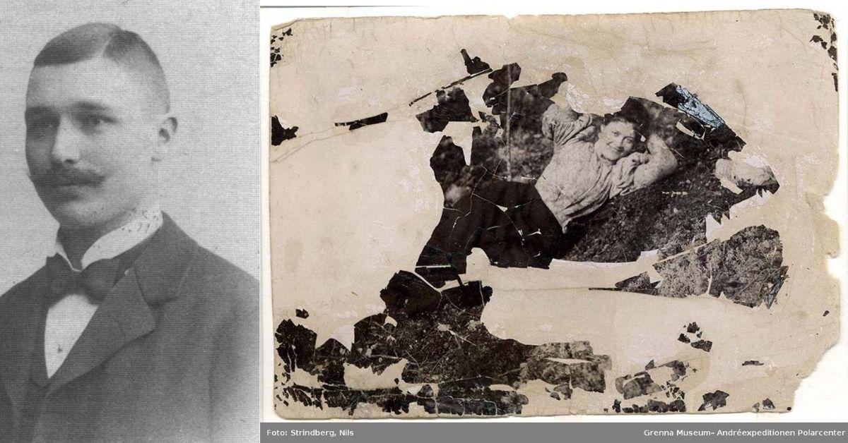 Fotografiet återfanns bland Nils Strindbergs tillhörigheter av Bratvaags besättning på Vitön 1930. Förvärv: 2006 Givare till museet: Strindberg, Marianne