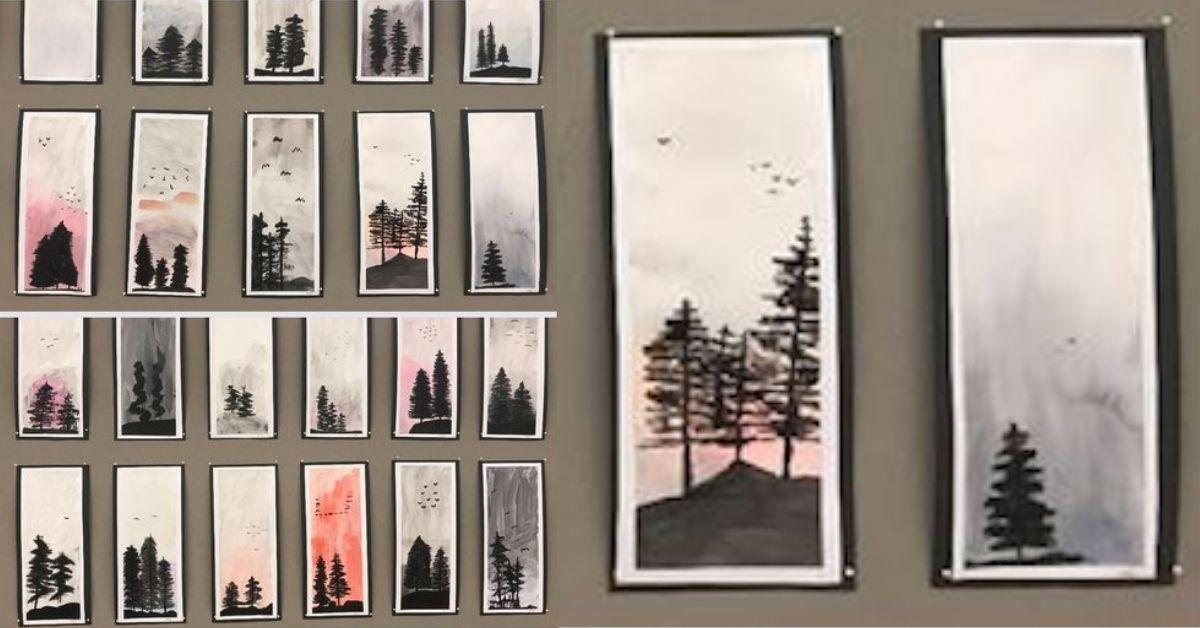 Skapa granar i den dimmiga skogen - En bilduppgift med olika penslar och akvarellpapper